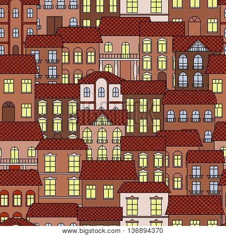 Vintage seamless architecture background with pattern of old part of a town at evening time with brown facades of houses and bright shining windows. Great for interior or real estate theme design