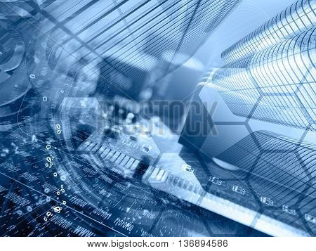 Digits buildings and map - abstract computer background in blues.
