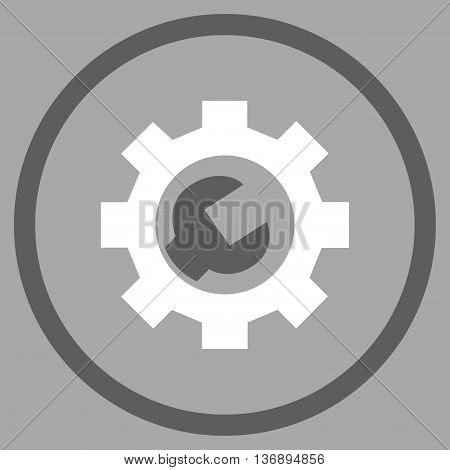 System Setup vector bicolor icon. Image style is a flat icon symbol inside a circle, dark gray and white colors, silver background.
