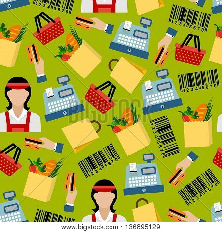 Grocery shopping colorful seamless pattern with cashier sellers and cash registers, shopping baskets and paper bags with fresh vegetables and bread, bank credit cards and barcodes on green background
