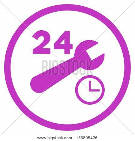 Nonstop Service Hours vector icon. Image style is a flat icon symbol inside a circle, violet color, white background.