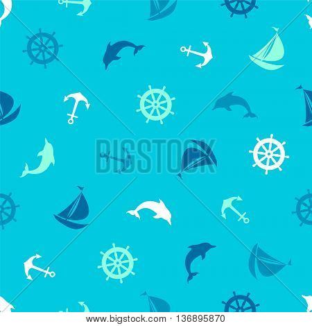 Anchor dolphin steering wheel ship - seamless pattern on the marine theme.