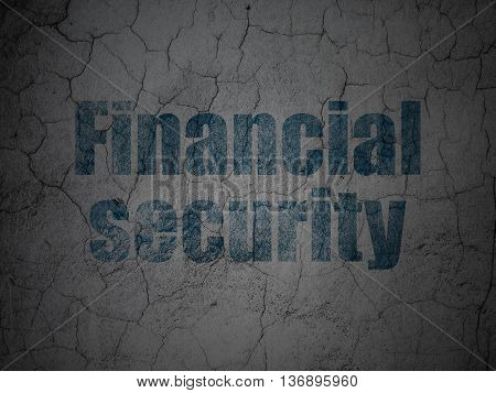 Safety concept: Blue Financial Security on grunge textured concrete wall background