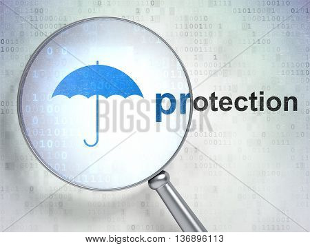 Privacy concept: magnifying optical glass with Umbrella icon and Protection word on digital background, 3D rendering