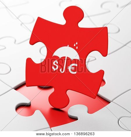 Safety concept: Money And Umbrella on Red puzzle pieces background, 3D rendering