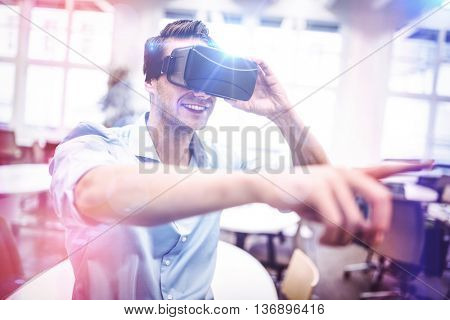 Man using a virtual reality device in the office