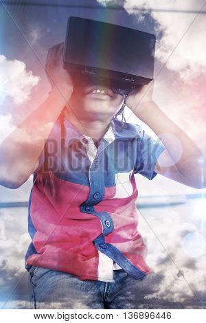 Boy using a virtual reality device at school