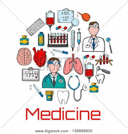 General medicine colored sketches of doctors with stethoscopes, thermometers and syringes, pills and medicine bottles, blood bags and test tubes, brain, heart and lungs, teeth and dentistry tools, ecg monitor and eye chart for visual testing