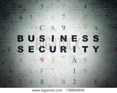 Safety concept: Painted black text Business Security on Digital Data Paper background with Hexadecimal Code