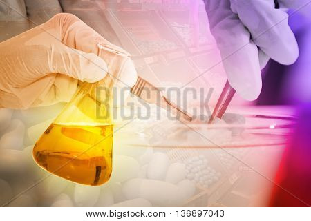 Scientist With Equipment And Science Experiments ,laboratory Glassware Containing Chemical Liquid, S