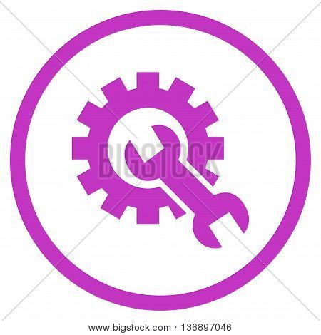 Hardware Maintenance vector icon. Image style is a flat icon symbol inside a circle, violet color, white background.