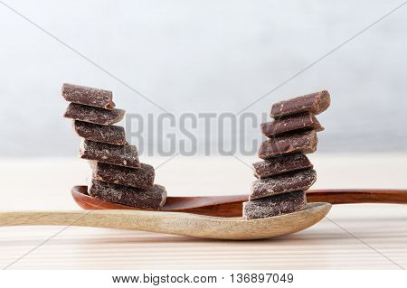 Cooking Chocolate Chunks In Wooden Spoons With Copy Space