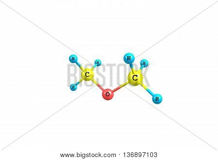 Dimethyl ether or methoxymethane is the organic compound with the formula CH3OCH3. The simplest ether it is a colourless gas that is a useful precursor to other organic compounds and an aerosol propellant. 3d illustration