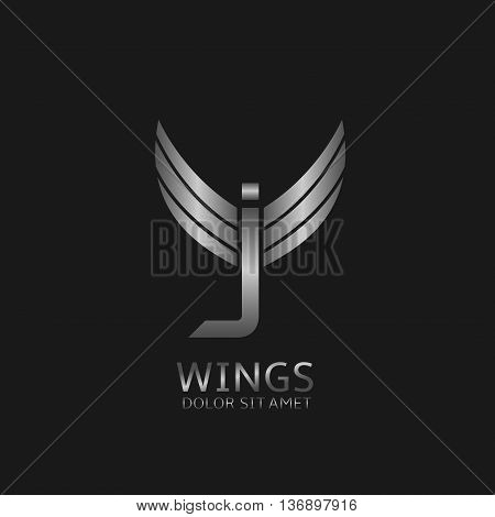 J letter logo. Silver wings symbol. Silver J letter logo template for air company