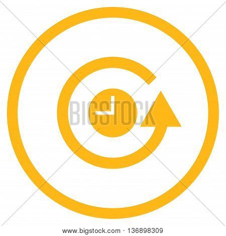 Restore Clock vector icon. Image style is a flat icon symbol inside a circle, yellow color, white background.