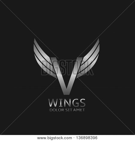 V letter logo. Silver wings symbol. Silver V letter logo template for air company
