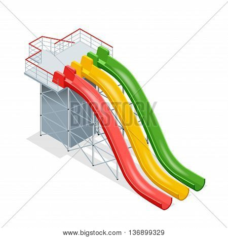 Water slides isolated on a white background. Flat 3d isometric illustration. Water amusement park playground.