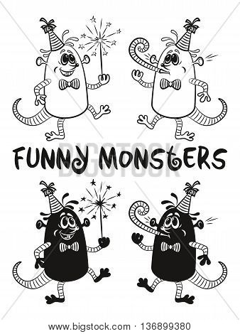 Set of Cute Cartoon Monsters, Black Contour and Silhouette Characters with Sparkler and Festive Fife, Elements for your Party Holiday Design, Prints and Banners, Isolated on White Background. Vector