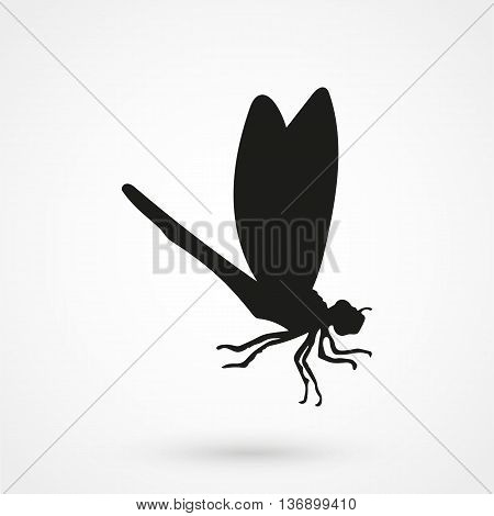 Dragonfly Icon On White Background In Flat Style. Simple Vector Illustration