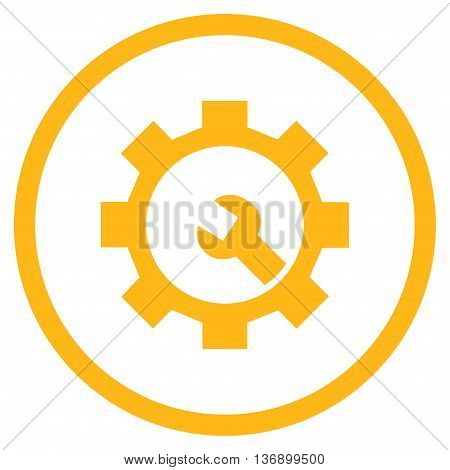 Configuration Tools vector icon. Image style is a flat icon symbol inside a circle, yellow color, white background.