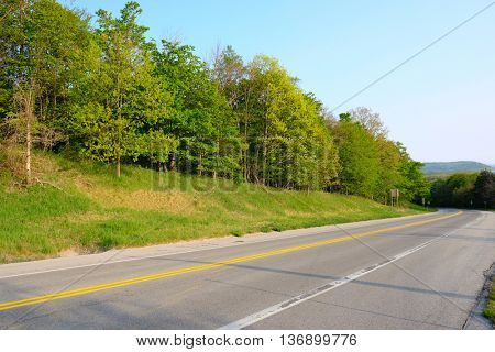 Scenic highway near Arcadia, MI, USA