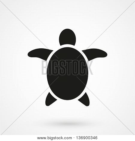 Sea Turtle Icon On White Background In Flat Style. Simple Vector Illustration