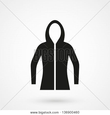 Hoodie Icon On White Background In Flat Style. Simple Vector Illustration