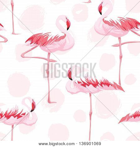Pink flamingo seamless pattern with textures background, vector illustration
