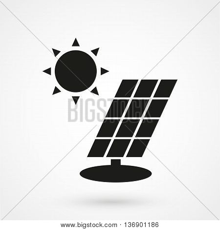 Solar Panel Icon On White Background In Flat Style. Simple Vector Illustration