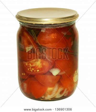 Marinated tomatoes rolled in a glass jar on white background.