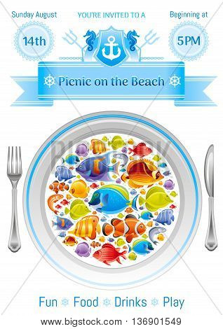 Sea summer travel poster design with tropical seafood fishes icon set and sailing adventure signs. Vector illustration on white background with plate dish and text lettering Picnic on the beach