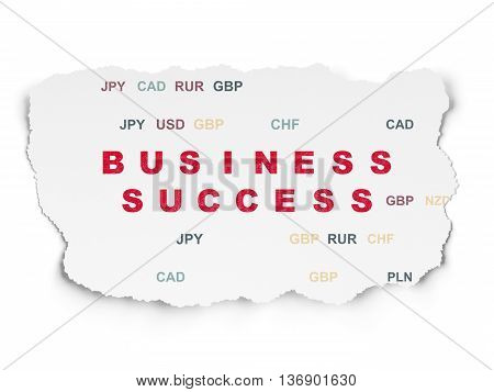 Business concept: Painted red text Business Success on Torn Paper background with  Currency