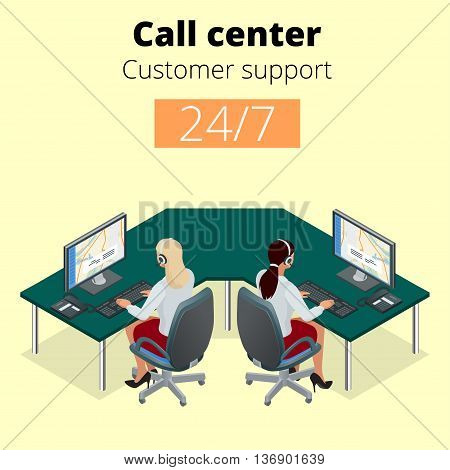Vector concept of call center. Technical support or dispatcher call center. Female operator on call center. Flat 3d vector isometric illustration