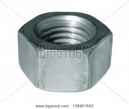 Steel nut with metric threads on a white background.
