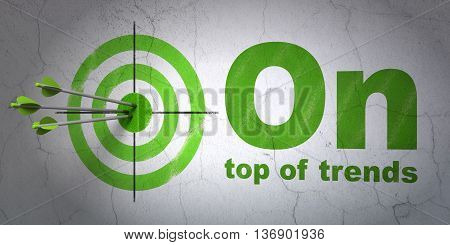 Success business concept: arrows hitting the center of target, Green On Top of trends on wall background, 3D rendering
