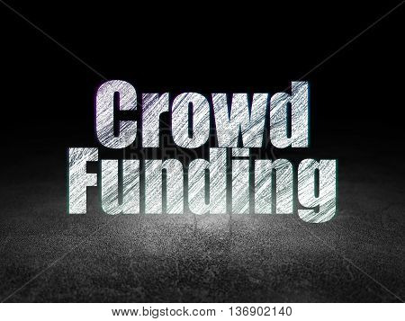 Business concept: Glowing text Crowd Funding in grunge dark room with Dirty Floor, black background