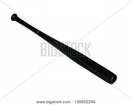 Black wooden baseball bat isolated on white background.