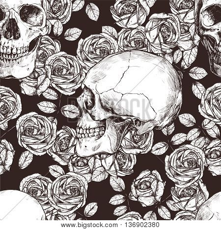 Seamless Gothic Pattern With Monochrome Hand Drawn Skulls And Roses