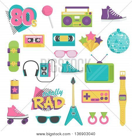 Collection of vintage retro 1980s style items that symbolize the 80s decade fashion accessories style attributes leisure items and innovations.