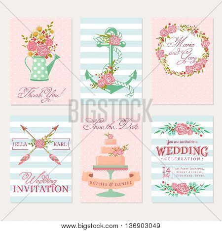 Set of wedding invitations. Elegant bunner templates in pink blue and white colors. Cute cards with flowers. Vector romantic collection.