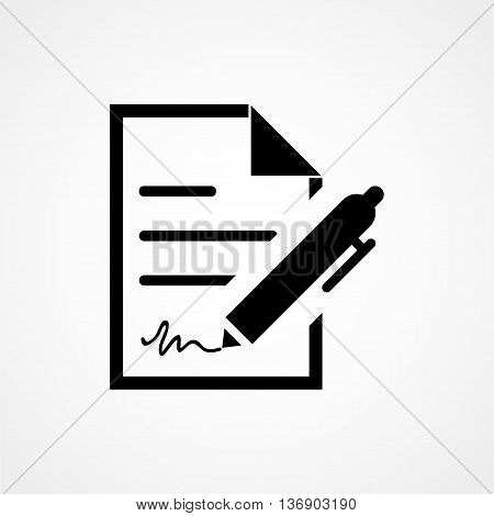 Contract Icon On White Background In Flat Style. Simple Vector Illustration