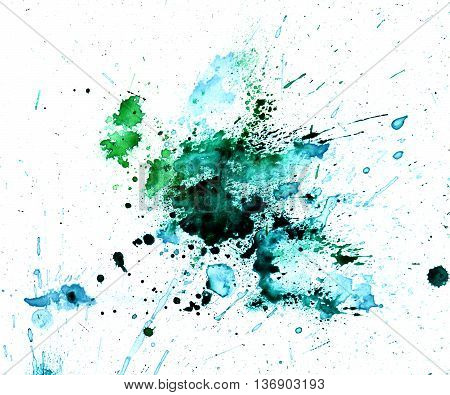 Green bluea watercolour splatter. Blue ink spot blotch isolated. Beautiful watercolor smudges