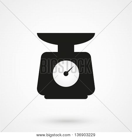 Kitchen Scale Icon On White Background In Flat Style. Simple Vector Illustration