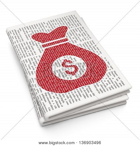 Finance concept: Pixelated red Money Bag icon on Newspaper background, 3D rendering