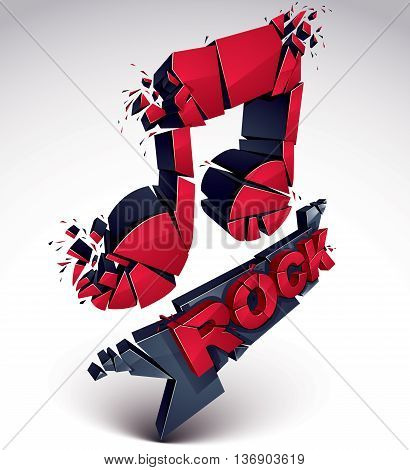 Red and black 3d vector musical note created from refractions isolated on white. Three-dimensional transform music theme design element. Rock music theme