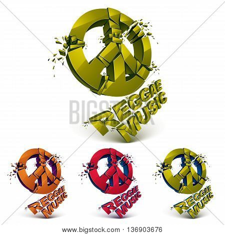 Green red and orange 3d vector peace signs collection created from refractions isolated on white. Set of reggae music theme three-dimensional transform design elements.