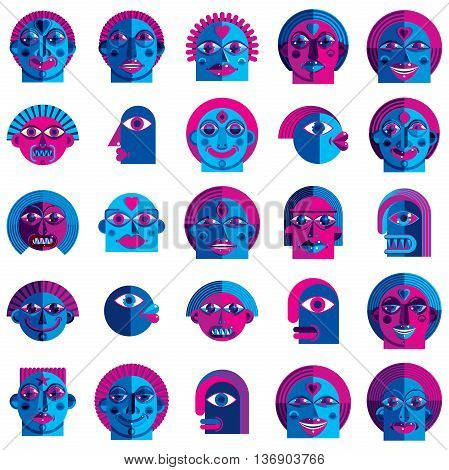 Set Of Vector Bizarre Creatures, Modern Art Colorful Drawings Of Imaginative Beings. Fantastic Odd C