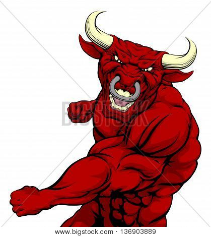Fighting Red Bull Mascot