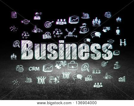 Finance concept: Glowing text Business,  Hand Drawn Business Icons in grunge dark room with Dirty Floor, black background
