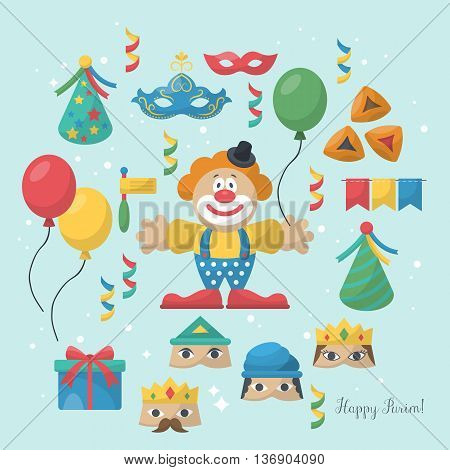 Jewish holiday Purim carnival flat icons and elements for design
